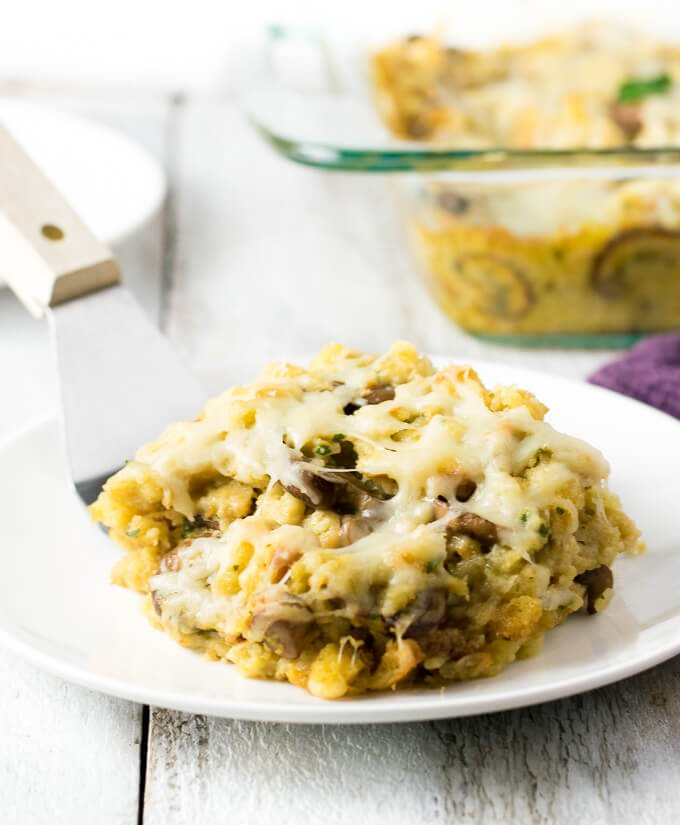 Creamy Mushroom and Swiss Stuffing on plate