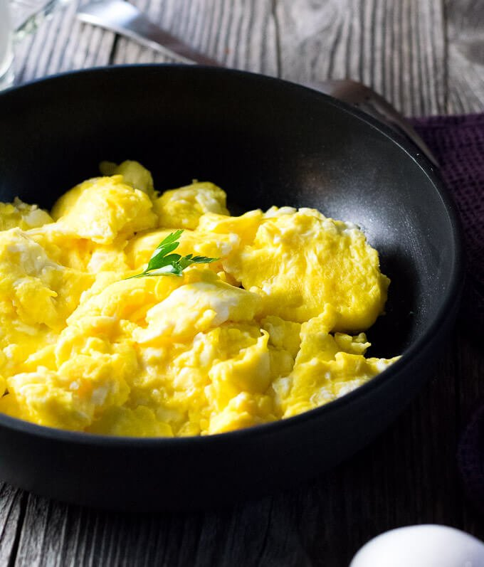 Perfect scrambled eggs in nonstick skillet