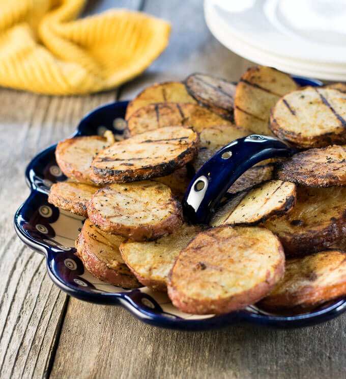 Grilled Dijon Potatoes on plate