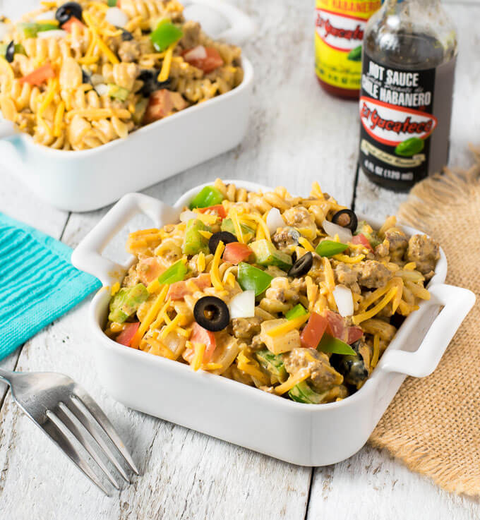 Smoky & Creamy Taco Pasta Salad on table
