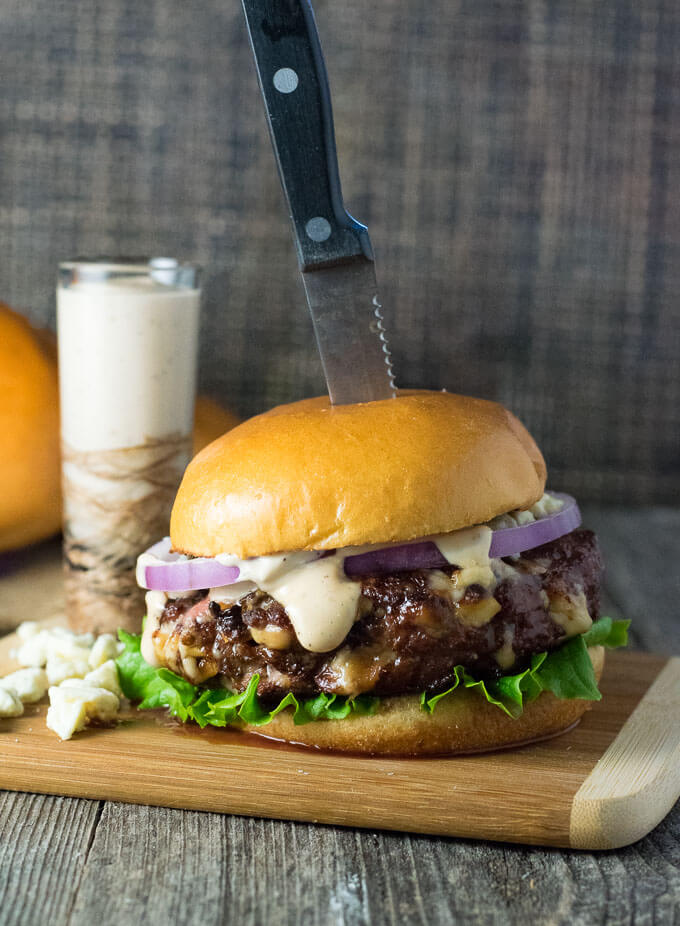 Balsamic Mayo Burger Sauce on Blue Cheese Burger