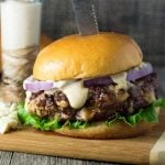 Balsamic Mayo Burger Sauce on burger