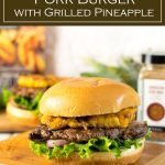This flavorful Caribbean Pork Burger is topped with grilled pineapple! #pork #burger