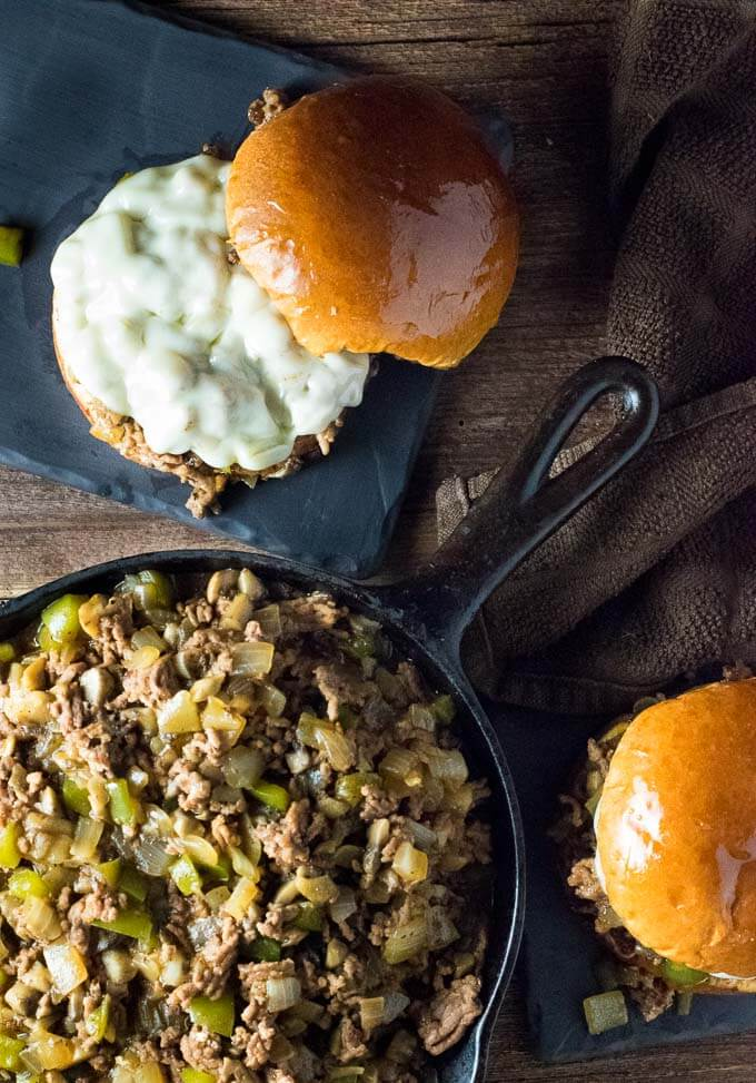 Pepper Onions Cheese Sloppy Joes