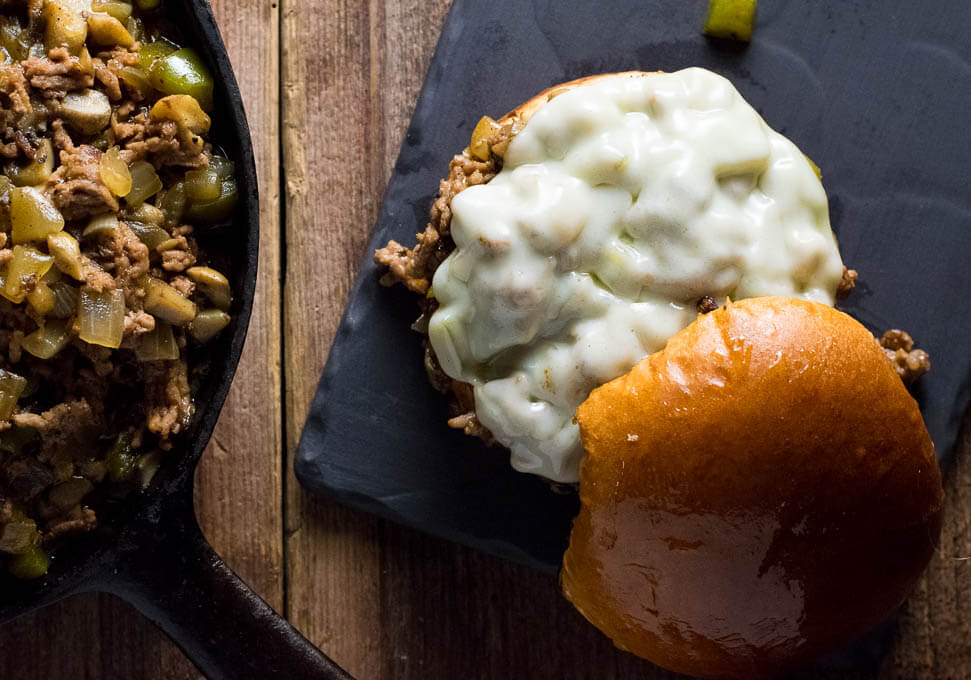 Philly Cheesesteak Sloppy Joes Provolone Cheese