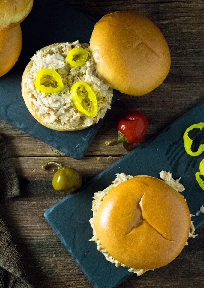 Slow Cooker Mississippi Crack Chicken Sandwiches