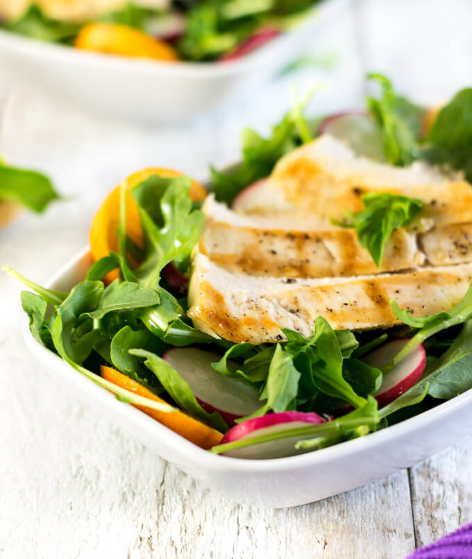 Arugula Chicken Salad with Radish Kumquats Basil Dressing