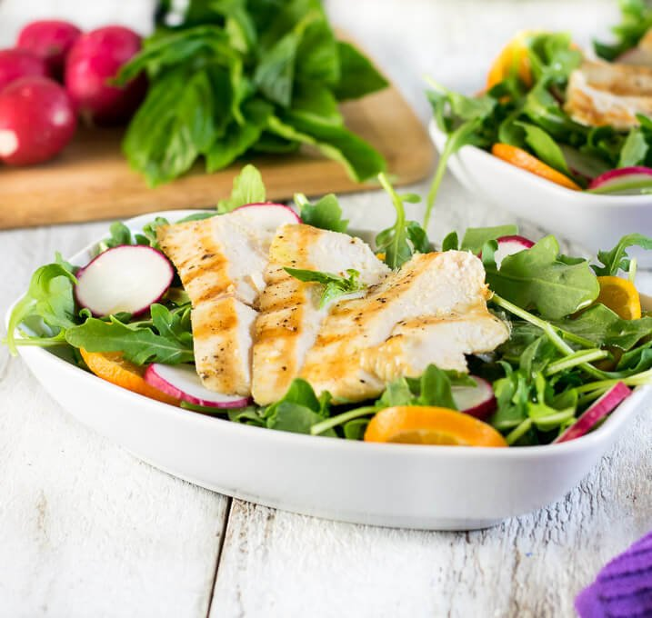 Arugula Chicken Salad with Basil Dressing