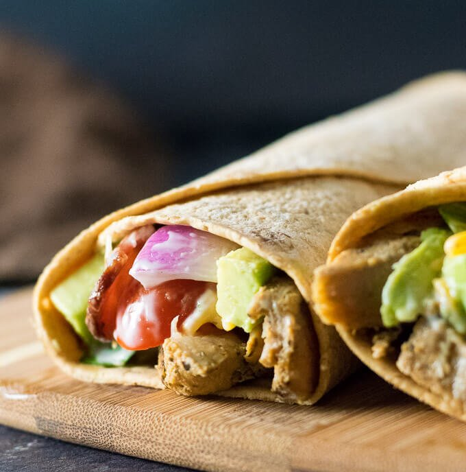 Avocado Chicken Bacon Ranch Wraps