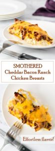 Smothered Cheddar Bacon Ranch Chicken Breasts recipe