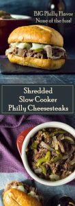 Shredded Slow Cooker Philly Cheesesteaks