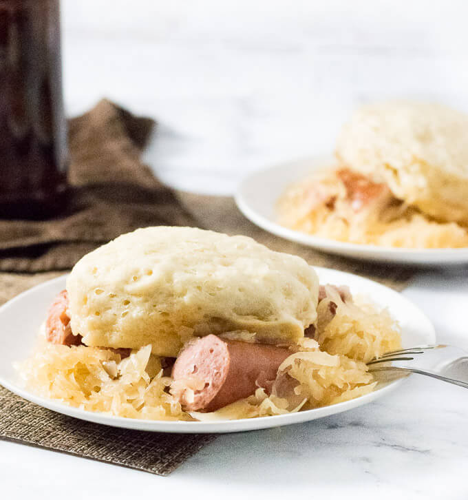 Slow Cooker Sauerkraut and Dumplings with Beer Braised Kielbasa