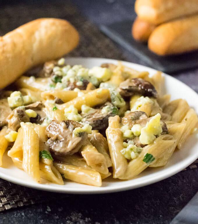 Blue Cheese Mushroom Sauce Penne pasta