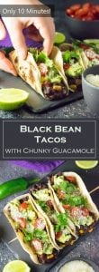 Black Bean Tacos with Chunky Guacamole recipe - Healthy and Vegetarian