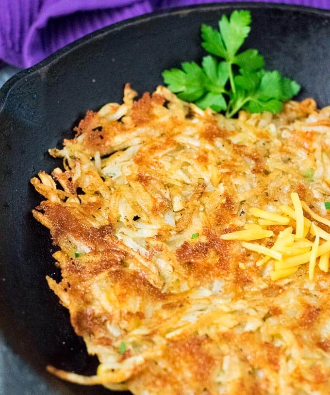 Cheddar-Crusted Homemade Shredded Hash Browns