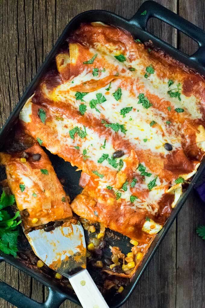 Vegetarian Enchiladas with Black Beans