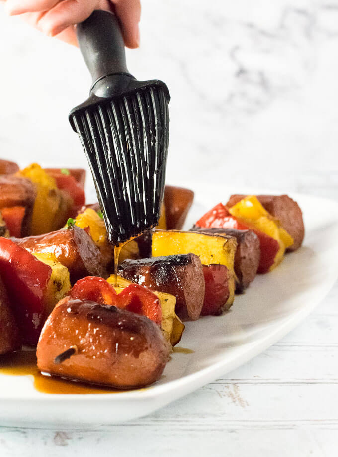 Grilled Kielbasa Kabobs with Balsamic Honey Glaze recipe