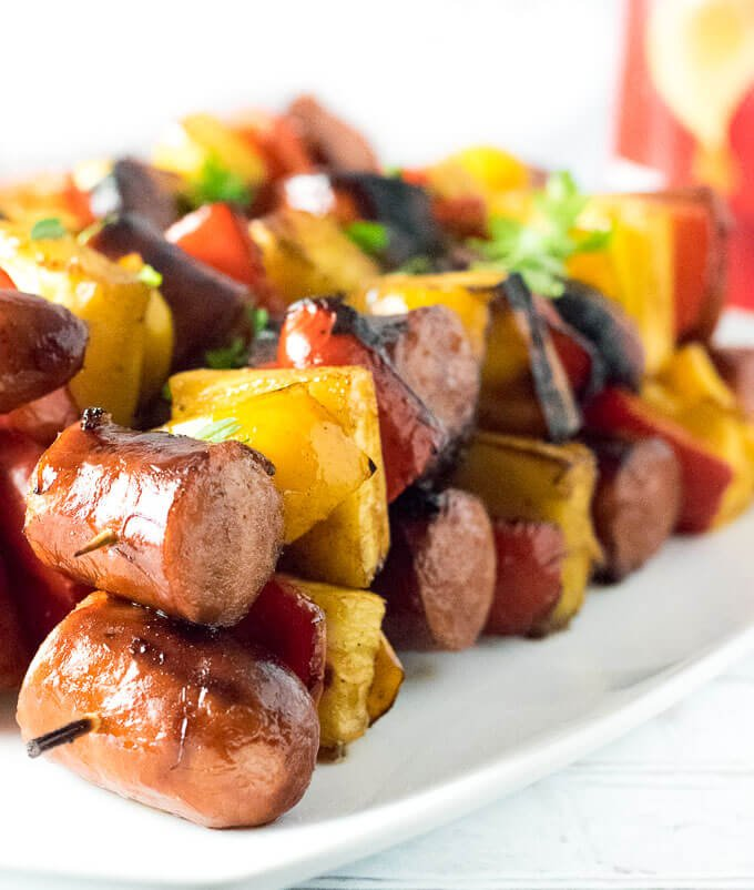 Grilled Kielbasa Kabobs with Honey Balsamic Glaze