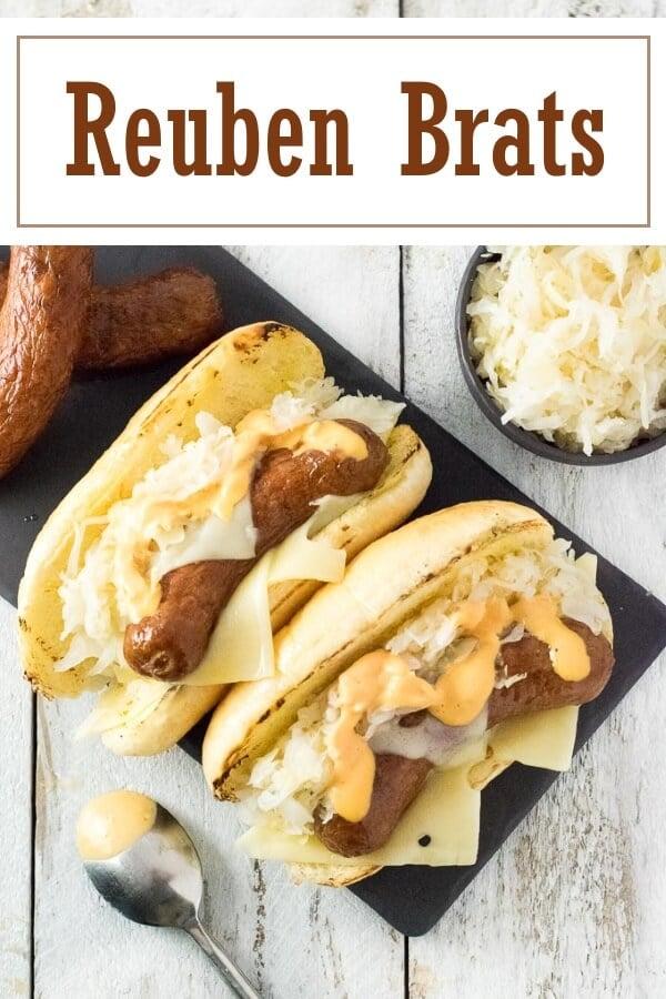 Reuben Brats Recipe #grilling #cookout #sandwich #lunch #brats