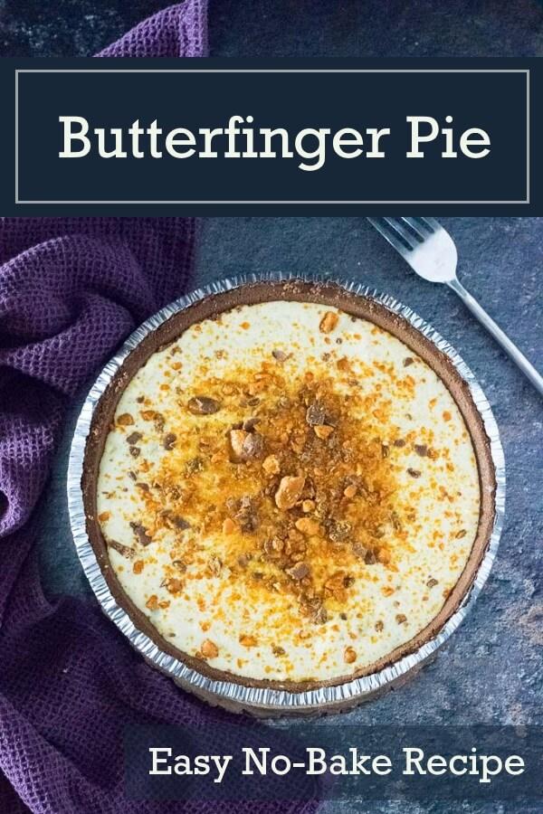 Butterfinger Pie recipe #dessert #pie #butterfingers