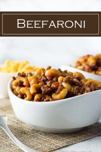 This homemade beefaroni recipe is an easy family dinner! #beef #dinner