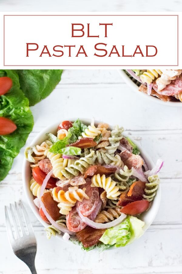 This BLT Pasta Salad is the perfect summer pasta salad for your potluck. #pasta #bacon #blt #potluck