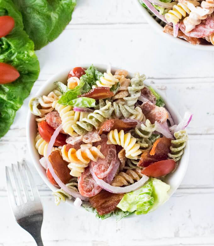 BLT Pasta Salad served on table with fork.
