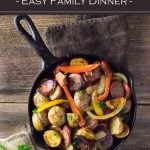 Sausage and Potatoes with peppers and onions is an easy family dinner. #sausage #dinner #easy #potatoes
