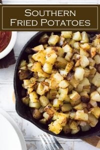 This southern Fried Potatoes recipe is a hearty breakfast side dish. #potatoes #sidedish #breakfast