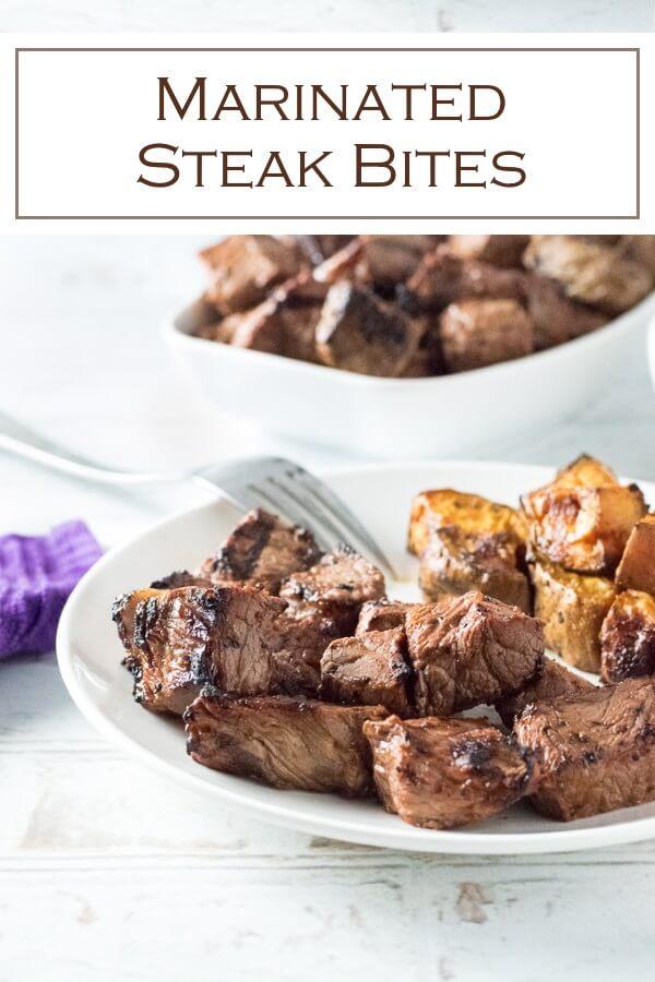Easy steak bites recipe with marinade or steak seasoning rub. #steak #beef #dinner