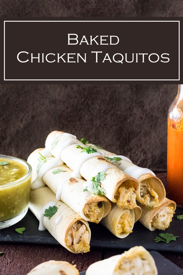 These baked chicken taquitoes are a healthy alternative to the traditional dish. #mexican #appetizer #chicken