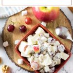 This creamy apple salad recipe is perfect for your party or potluck. #apple #salad #party