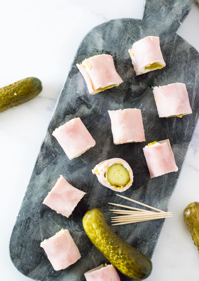Ham pickle roll up