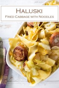 Haluski made with fried cabbage and noodles. #noodles #sausage #dinner