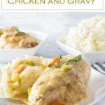 Smothered chicken and gravy is a comforting family dinner. #chicken #gravy #dinner