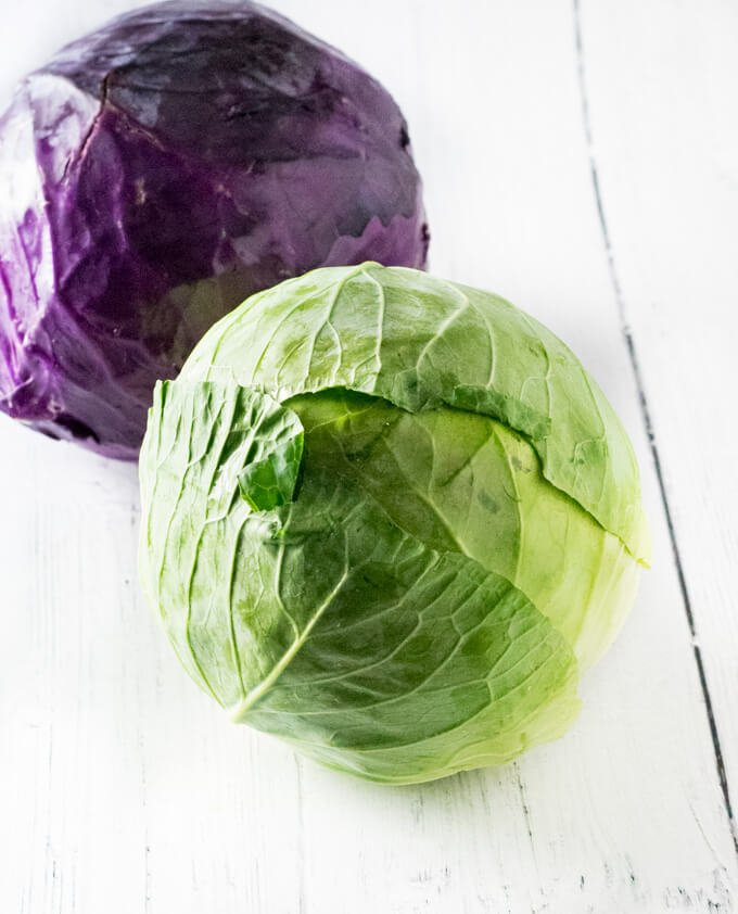 Whole cabbage with loose leaves