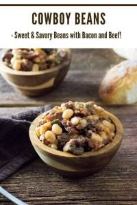 Cowboy Beans with beef and bacon. #beans #bacon #beef