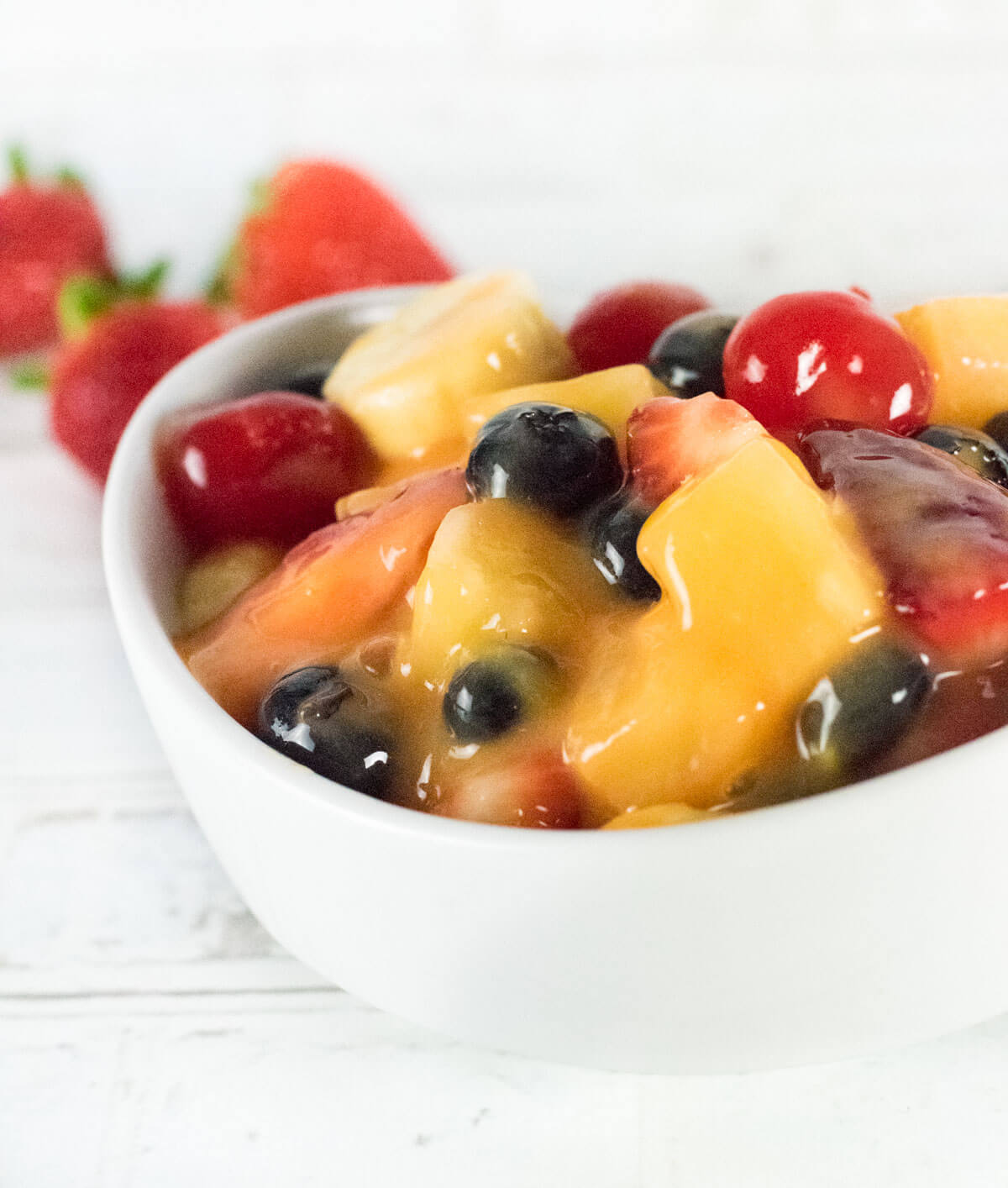 Fruit Salad recipe with Pudding shown close up