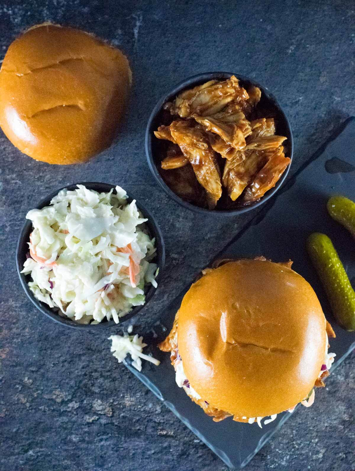 BBQ Pulled Chicken and slaw with pickles on the side