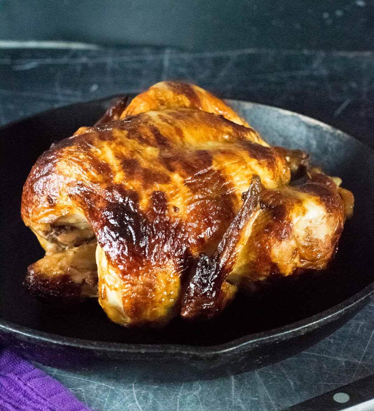 Rotisserie Chicken shown close up.