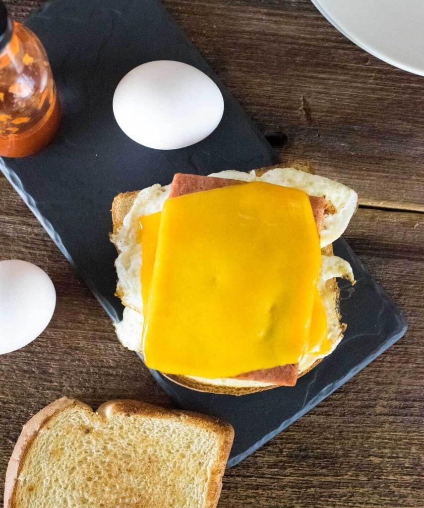Fried Spam Sandwich sitting open-faced