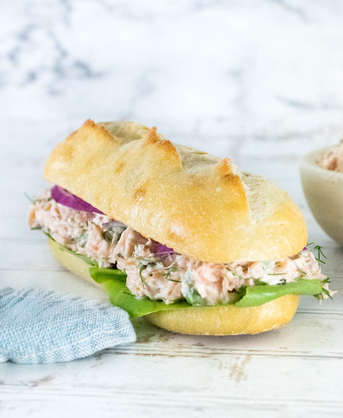 Salmon salad on French bread