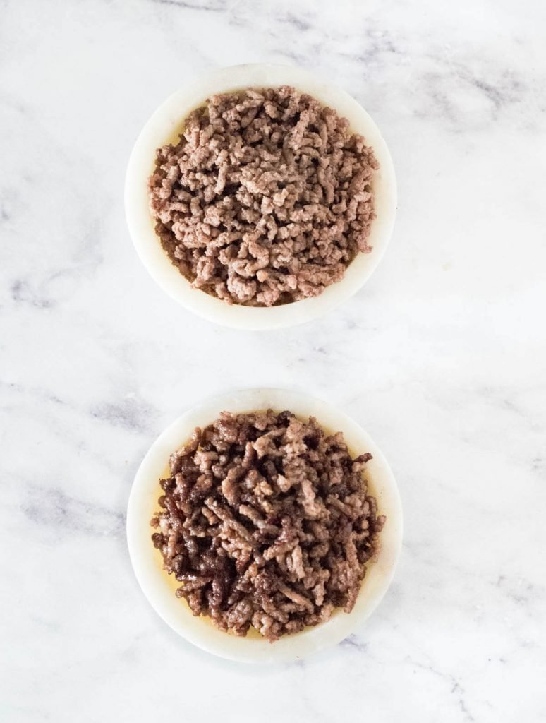 Two bowls of cooked beef, one browned, one not.