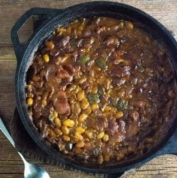 Grilled baked beans