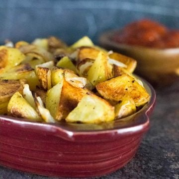 Roasted potatoes and onion