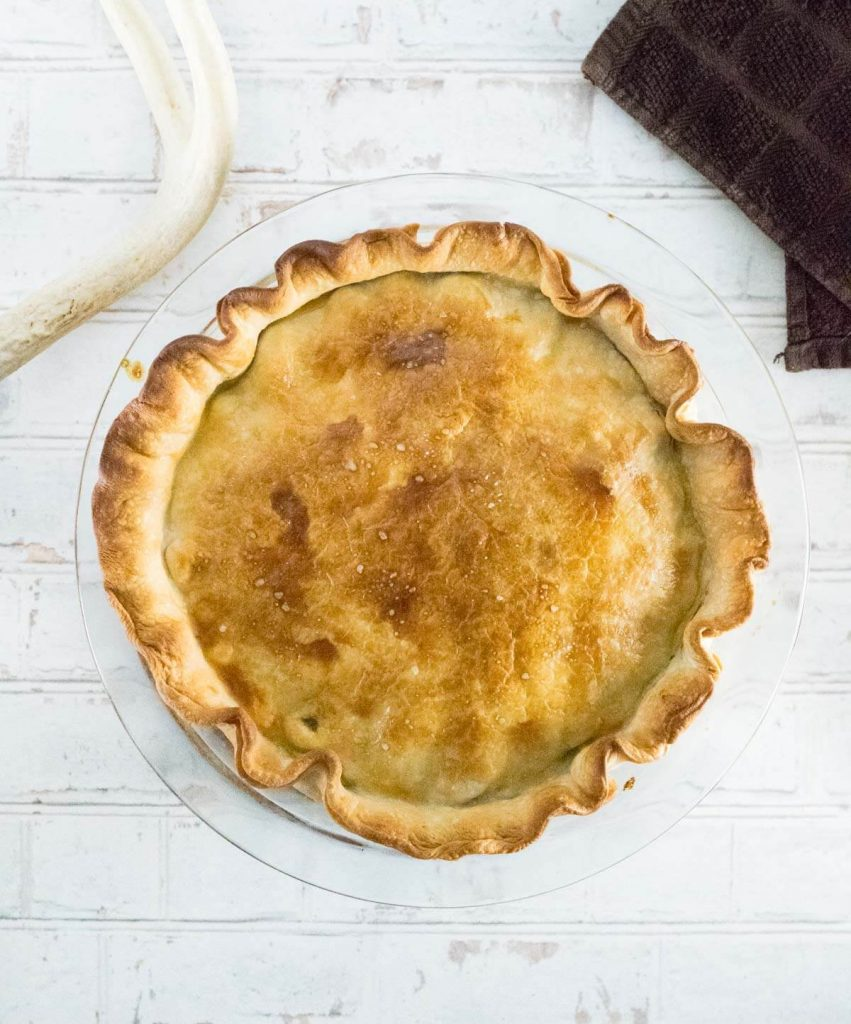 Double crust pot pie shown from above.