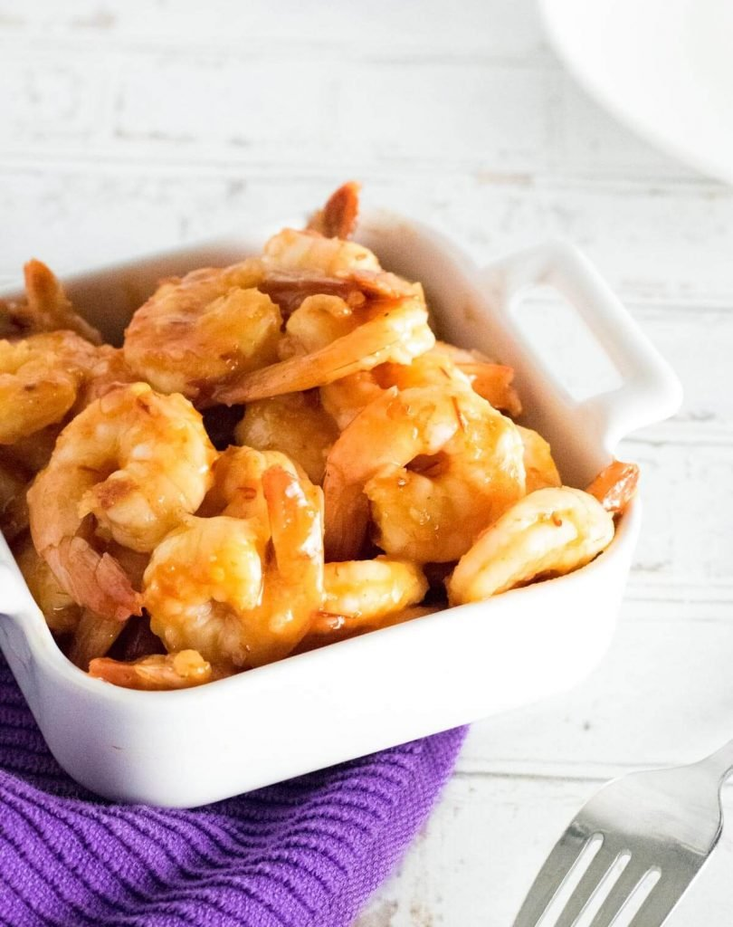 Firecracker shrimp in a white bowl