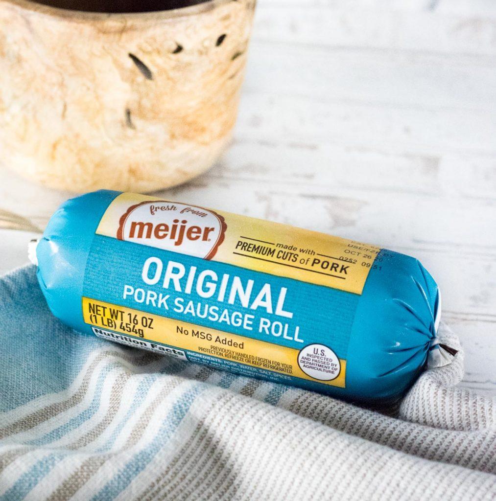 Meijer Pork Sausage sitting on kitchen towel.