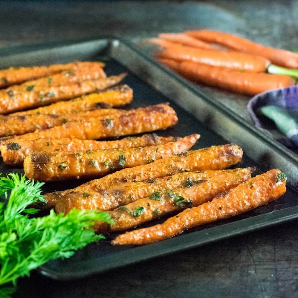 Parmesan roasted carrots cooling out of the oven.