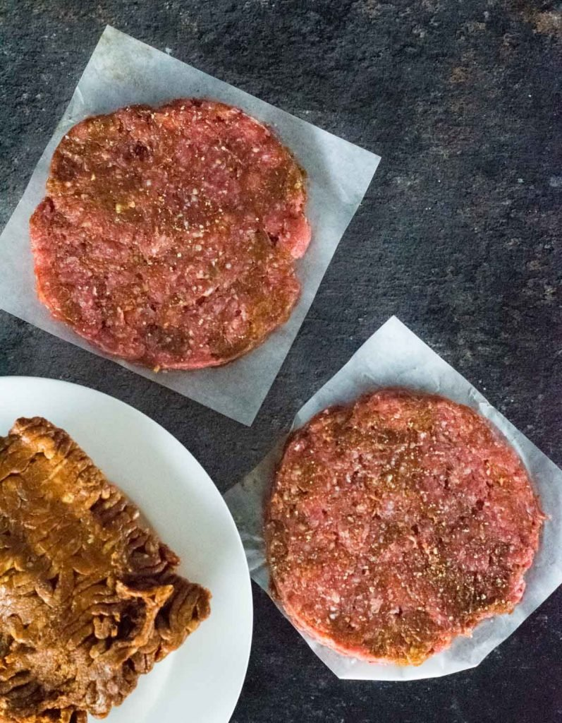 Raw chorizo burger patties